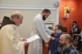 Our new Postulants Receive the Tau Cross, symbol of St. Francis.