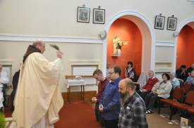 The Postulants receive a blessing from Br. Sean their director.