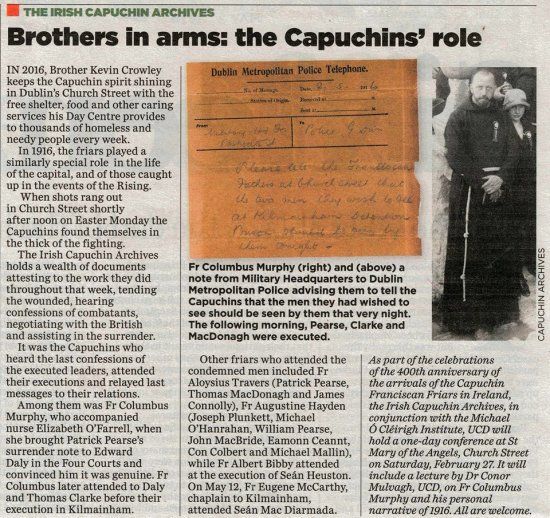 Irish Capuchins and 1916: Article in the Independent today