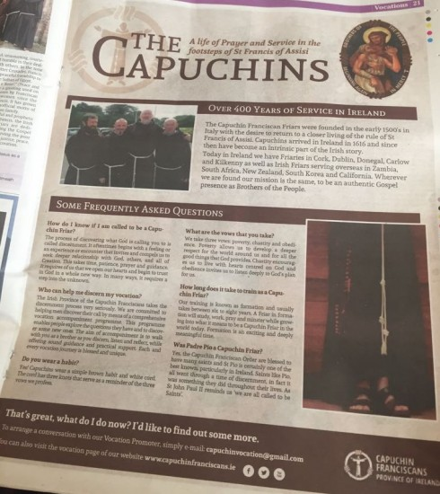 Check out our vocation page in this weeks Irish Catholic