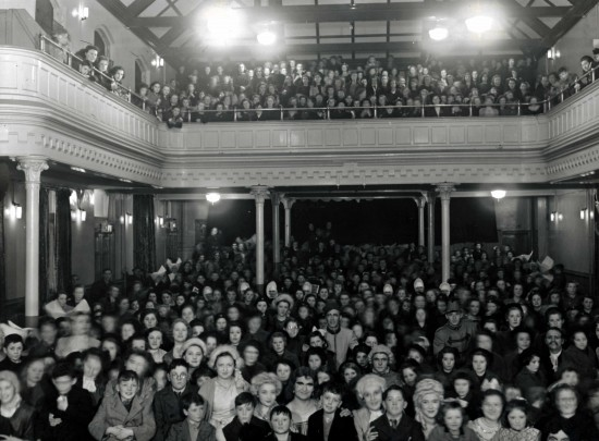 A large audience at a pantomime performance in Father Mathew Hall, Church Street, Dublin, c.1950