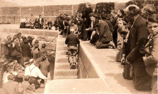 Capuchin missionaries blessing fishing boats at Brandon Pier, County Kerry, c.1930