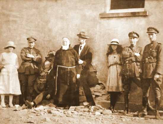Br. Felix Harte OFM Cap. (1861-1935) with Free State soldiers inspecting damage following the attack on the Four Courts, Dublin, during the Civil War in July 1922.