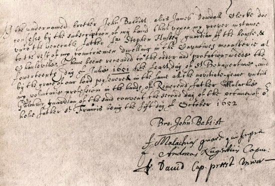 Fig. 3 - Act of profession of John Baptist Dowdall (c.1626-1710) on 5 October 1652