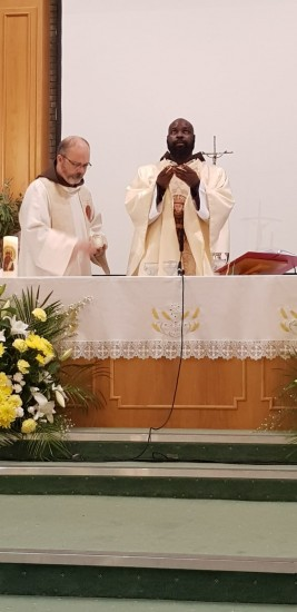 Br Augustine Mwape - Custody of Zambia - leading the celebration Mass assisted by Br Martin, Chapter Liturgy Team.