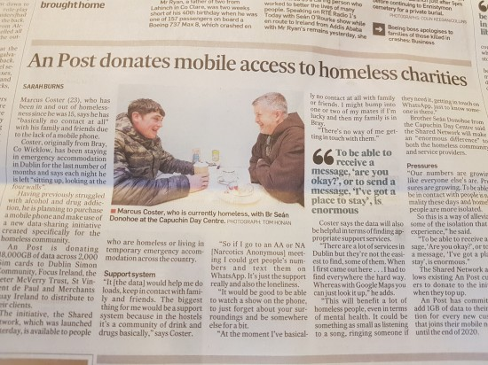 An Post to support Homeless people by donating mobile access