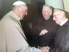Br. Peter presents Br. Kevin to the Holy Father, Pope Francis, this morning.