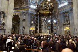 A sea of Capuchin Franciscan Brown in the Basilca today